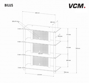 vcm gruppe vcm hifi m bel rack phono turm medienrack medienm bel regal tisch alu glas bilus. Black Bedroom Furniture Sets. Home Design Ideas