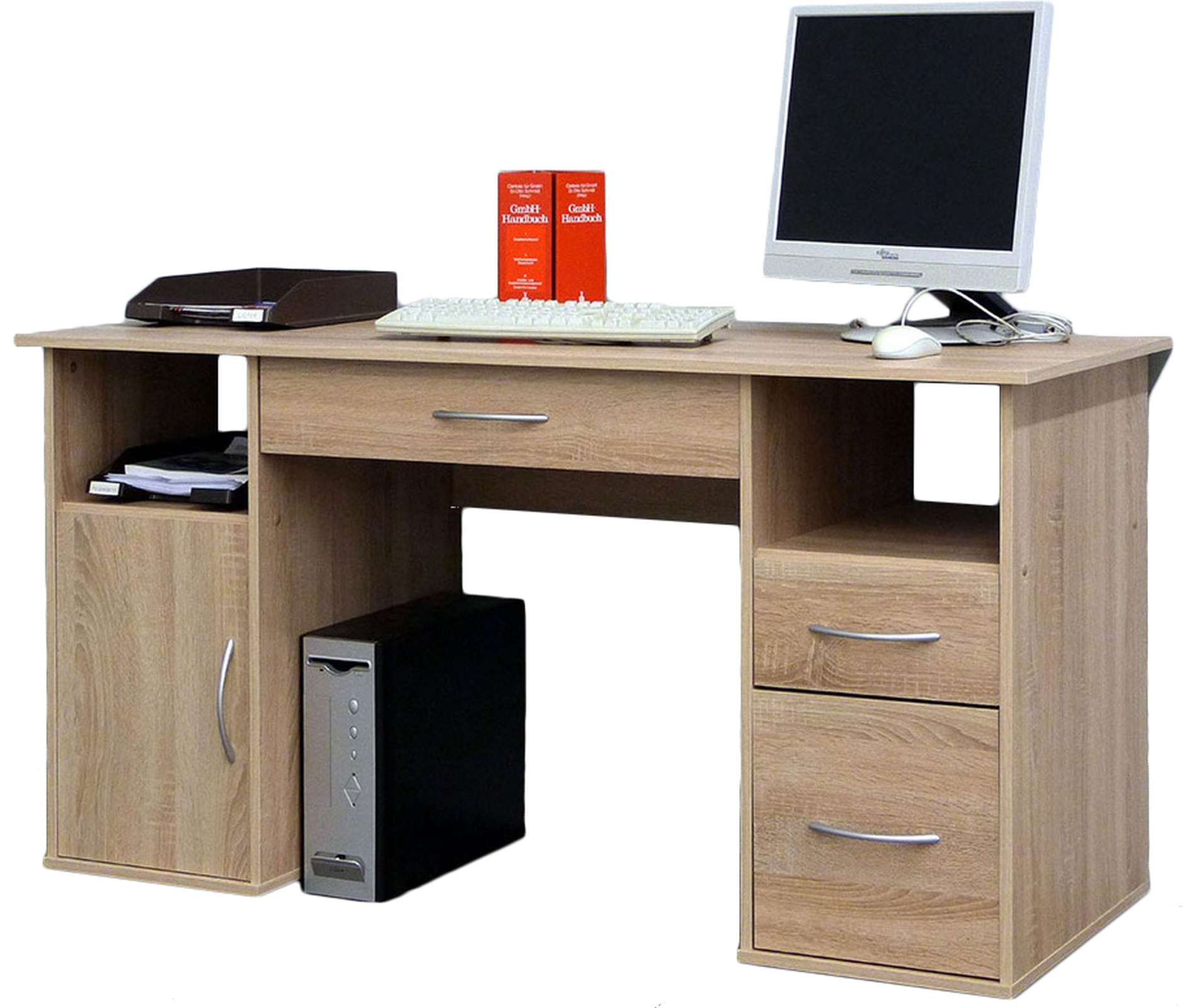 vcm gruppe schreibtisch tisch computertisch laptop pc fach schubladen sonoma eiche s gerau. Black Bedroom Furniture Sets. Home Design Ideas
