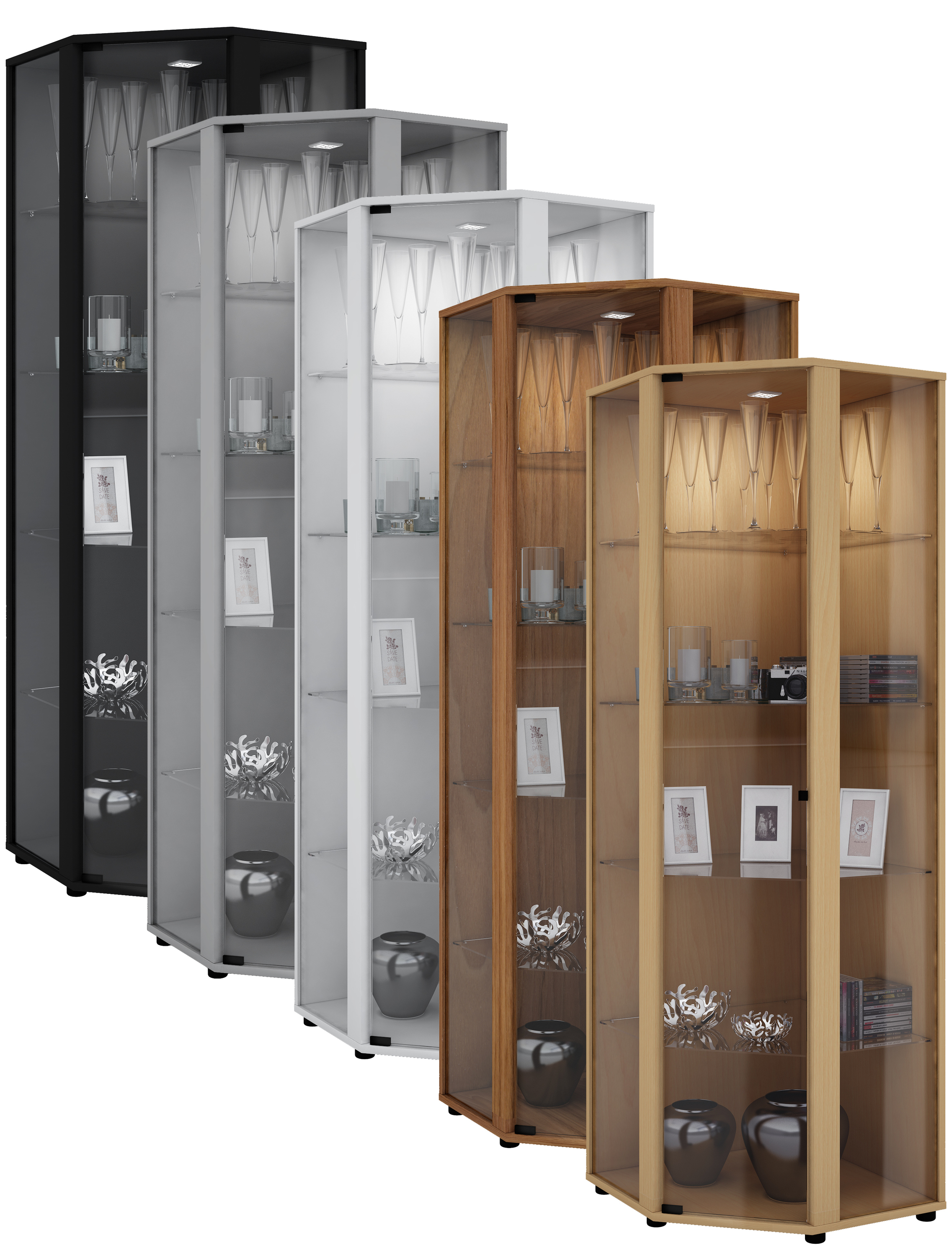 vcm gruppe vcm eckvitrine glasvitrine standvitrine schaukasten glasschrank sammelvitrine. Black Bedroom Furniture Sets. Home Design Ideas
