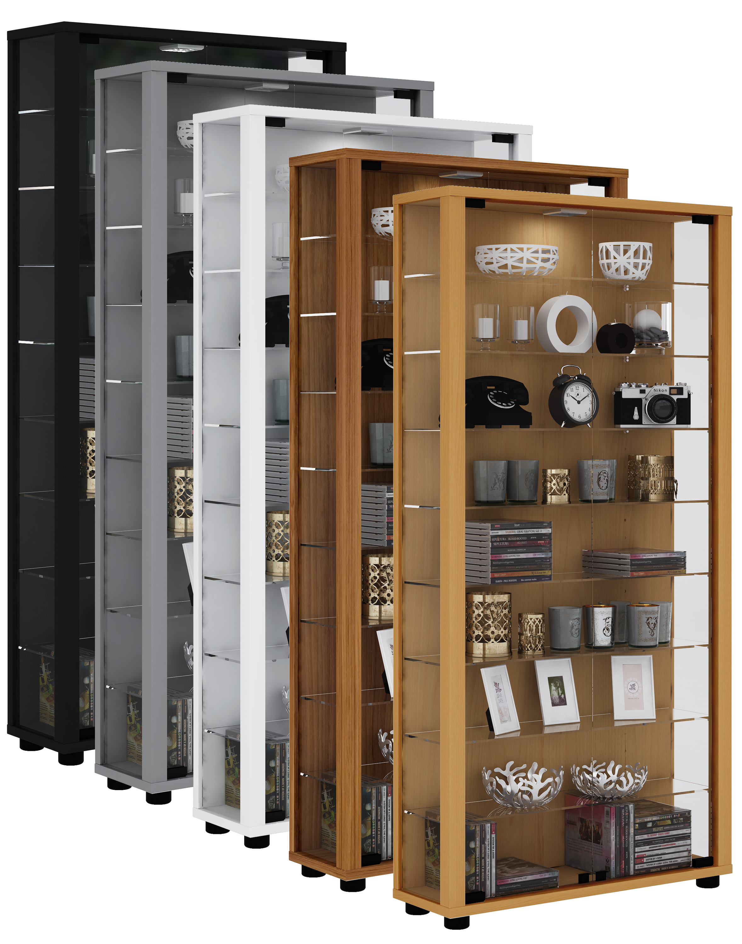 vcm gruppe vcm sammelvitrine standvitrine glasvitrine glasregal vitrine glas schaukasten lumo. Black Bedroom Furniture Sets. Home Design Ideas