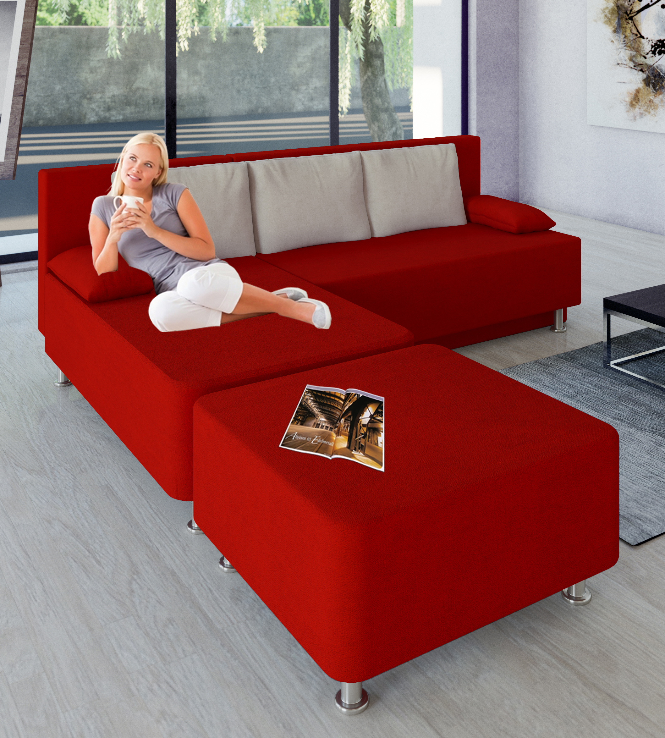 vcm gruppe vcm schlafsofa wohnlandschaft ecksofa couch mit schlaffunktion hocker rot magota. Black Bedroom Furniture Sets. Home Design Ideas
